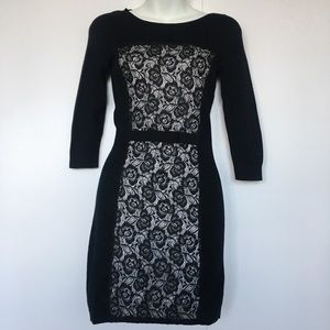 Topshop Black ¾ Sleeves Cotton Bodycon Dress Size
